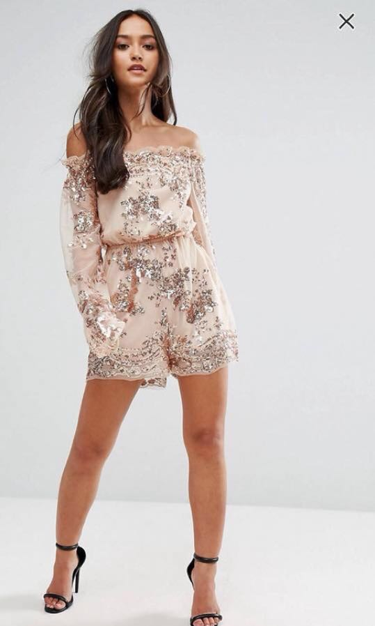 cb3e49abc6 ASOS Love   Other Things Blush Rose Gold Sequins Off-shoulder Playsuit  Romper  Easter20