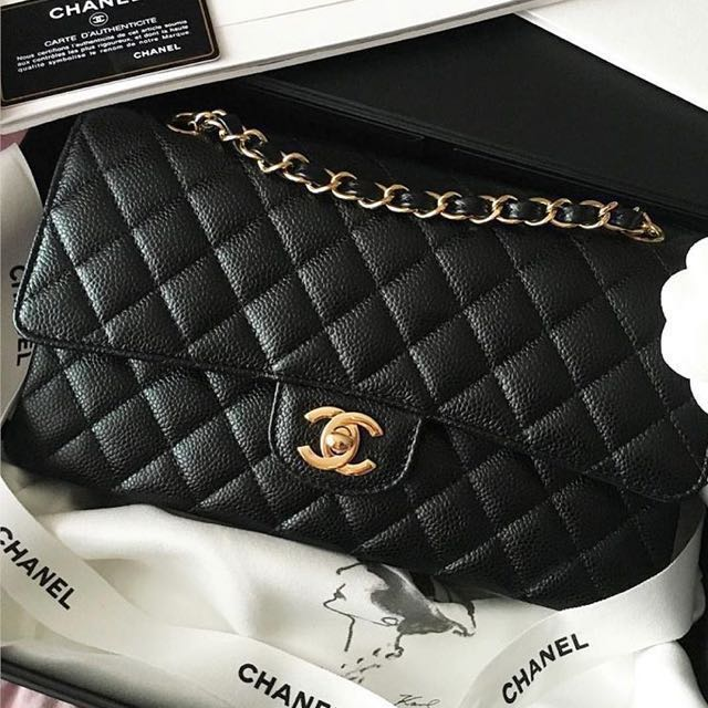 66990bead5f Chanel Classic 2.55 Black Caviar Leather Double Flap Jumbo Bag with ...