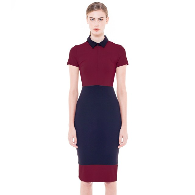 Collate The Label ZIP FRONT POLO Dress (maroon in size M)