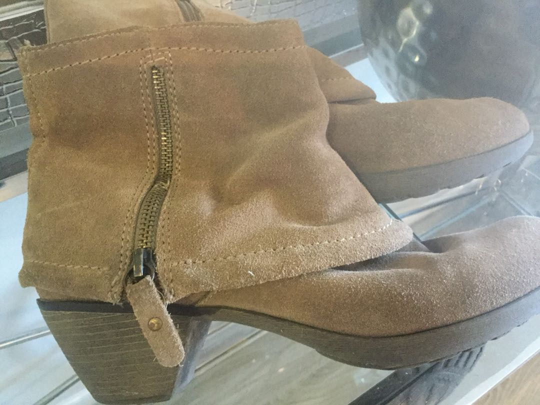 Cowhide Leather Double Zipper Ankle Boots