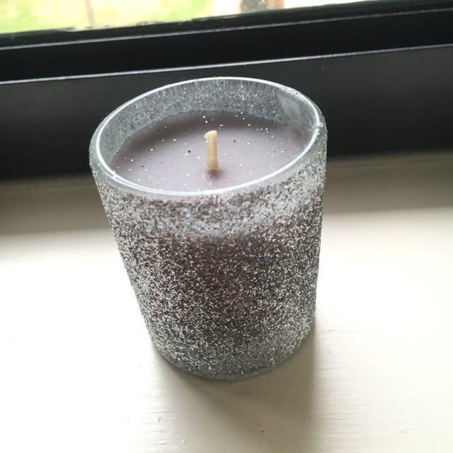 Cute small purple/Gray glitter candle
