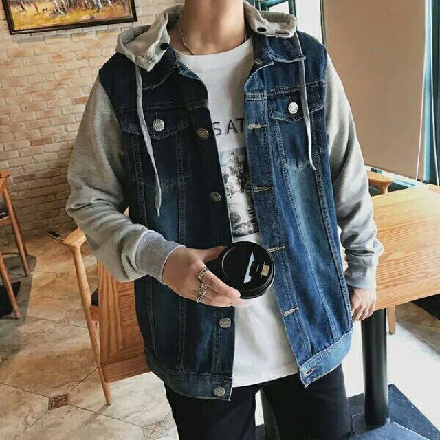 Denim Jacket Vest Long Sleeve Cotton Hoodie Men Women Unisex Jpop