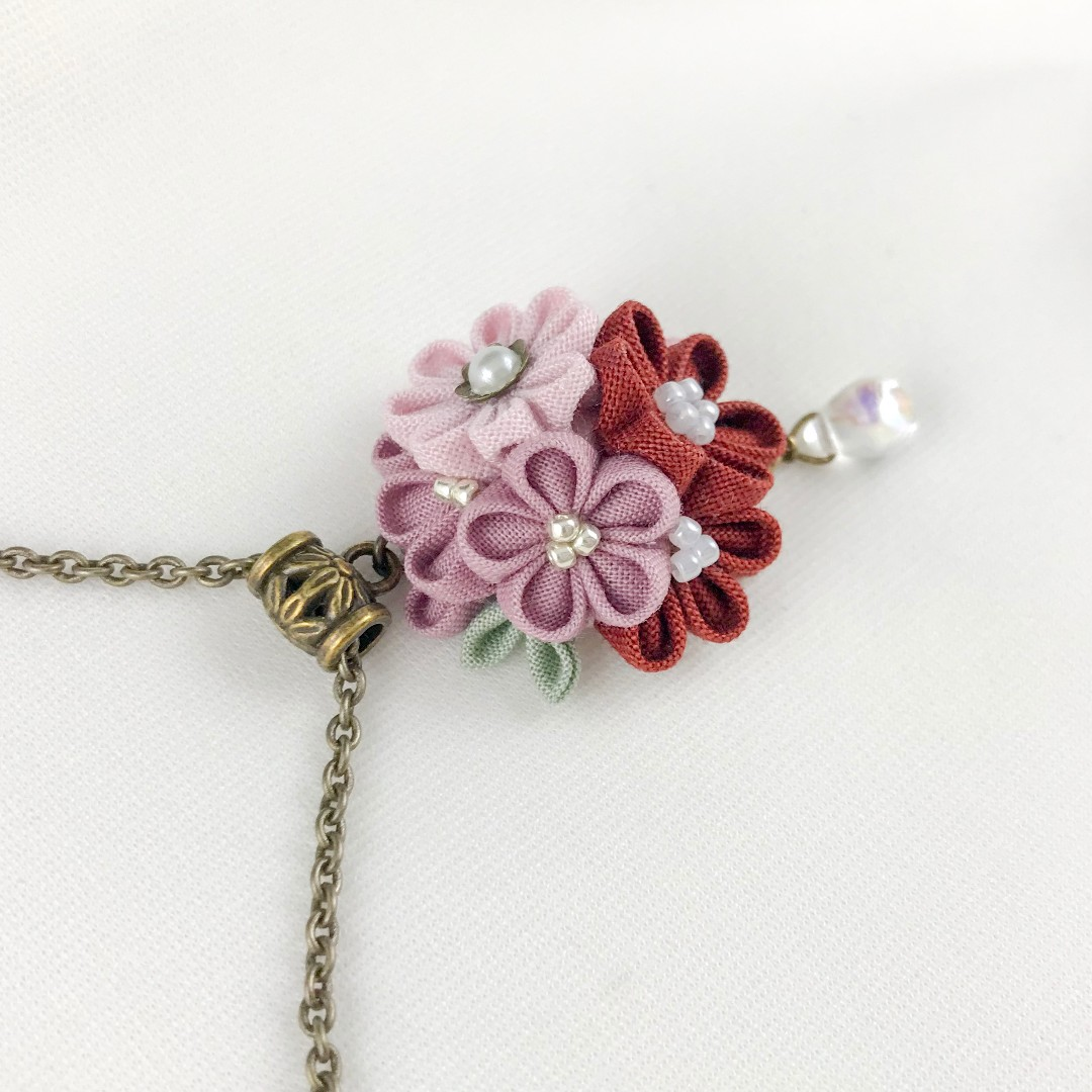 Dusty pink flowers necklace rustic pink flowers necklace long share this listing mightylinksfo