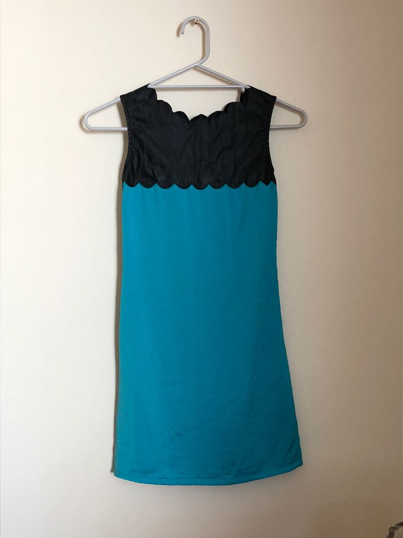Emerald green and black shift dress