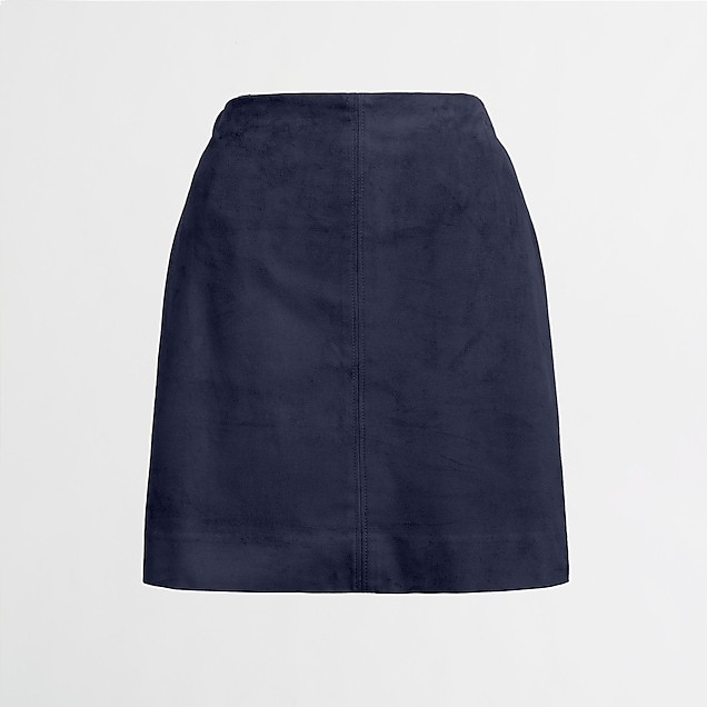 J. Crew   Faux Suede Seamed Skirt