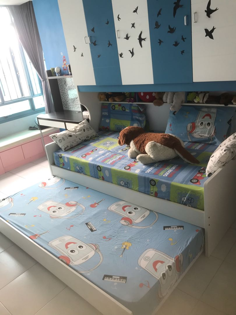 Kids pull out bed with storage, only frame on Carousell