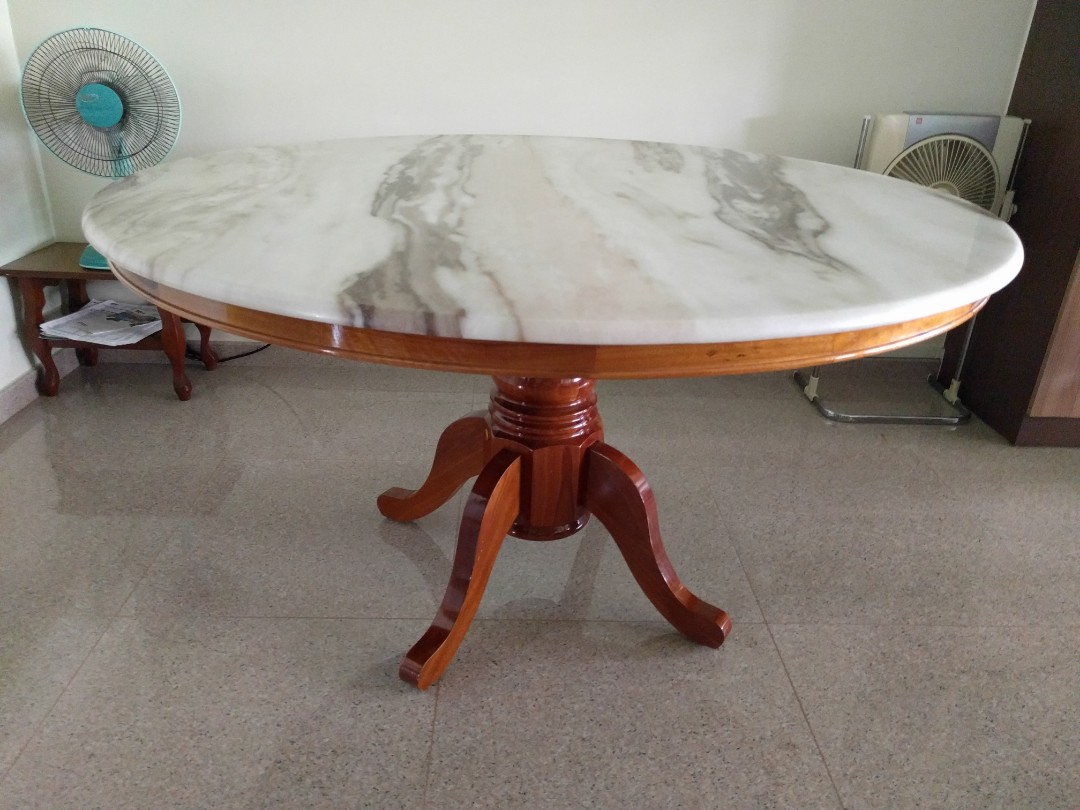 Marble Top Round Dining Table With Wooden Legs Furniture Tables Chairs On Carousell