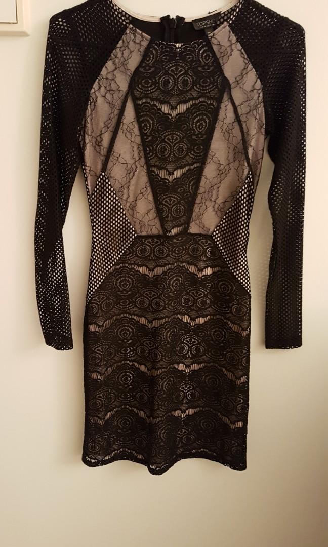 Navy Shoulder Dress, Topshop Black Lace Dress