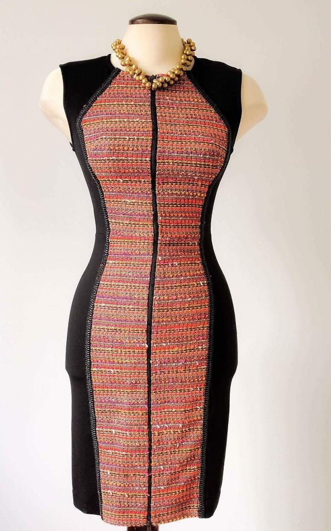 Rachel Roy   Mixed Media Zip Front Dress