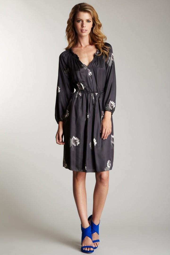 Rebecca Taylor   Shadow Daisy Tie Front Dress