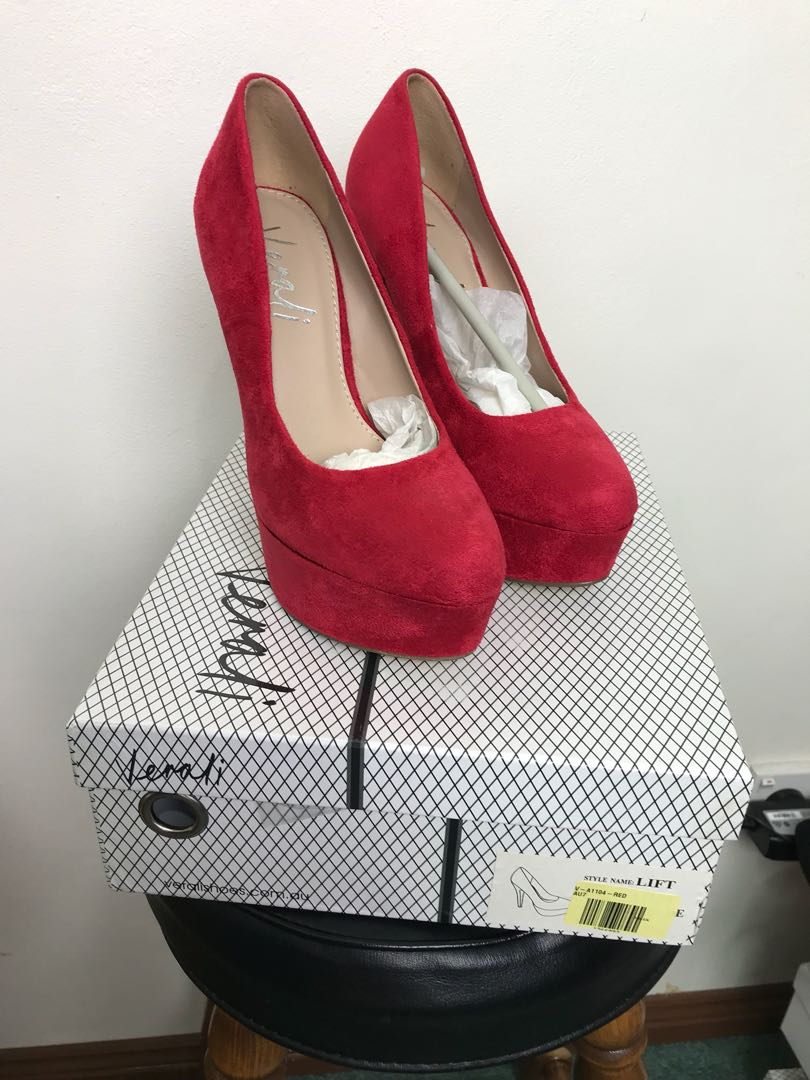 Red Suede Heels Size 7