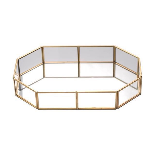 [Sellabrations] Gold Geometric Glass Wedding Engagement Tray Home Decoration