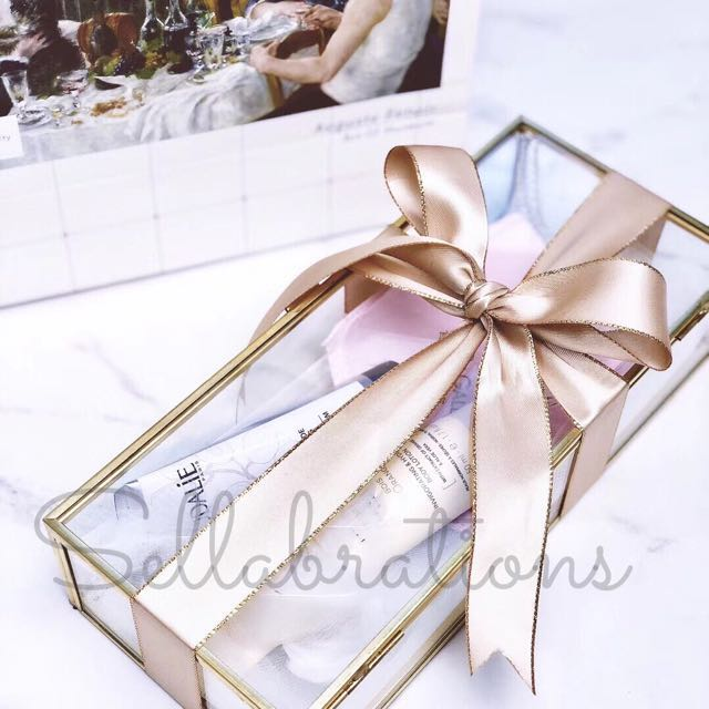 [Sellabrations] Vday Gold Glass Gift Container Terrarium Gift Box
