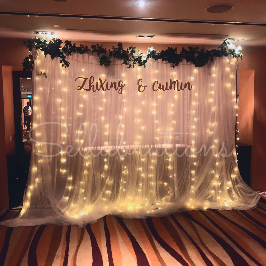 [Sellabrations] Wedding Fairy lights white mesh Backdrop  + Calligraphy named