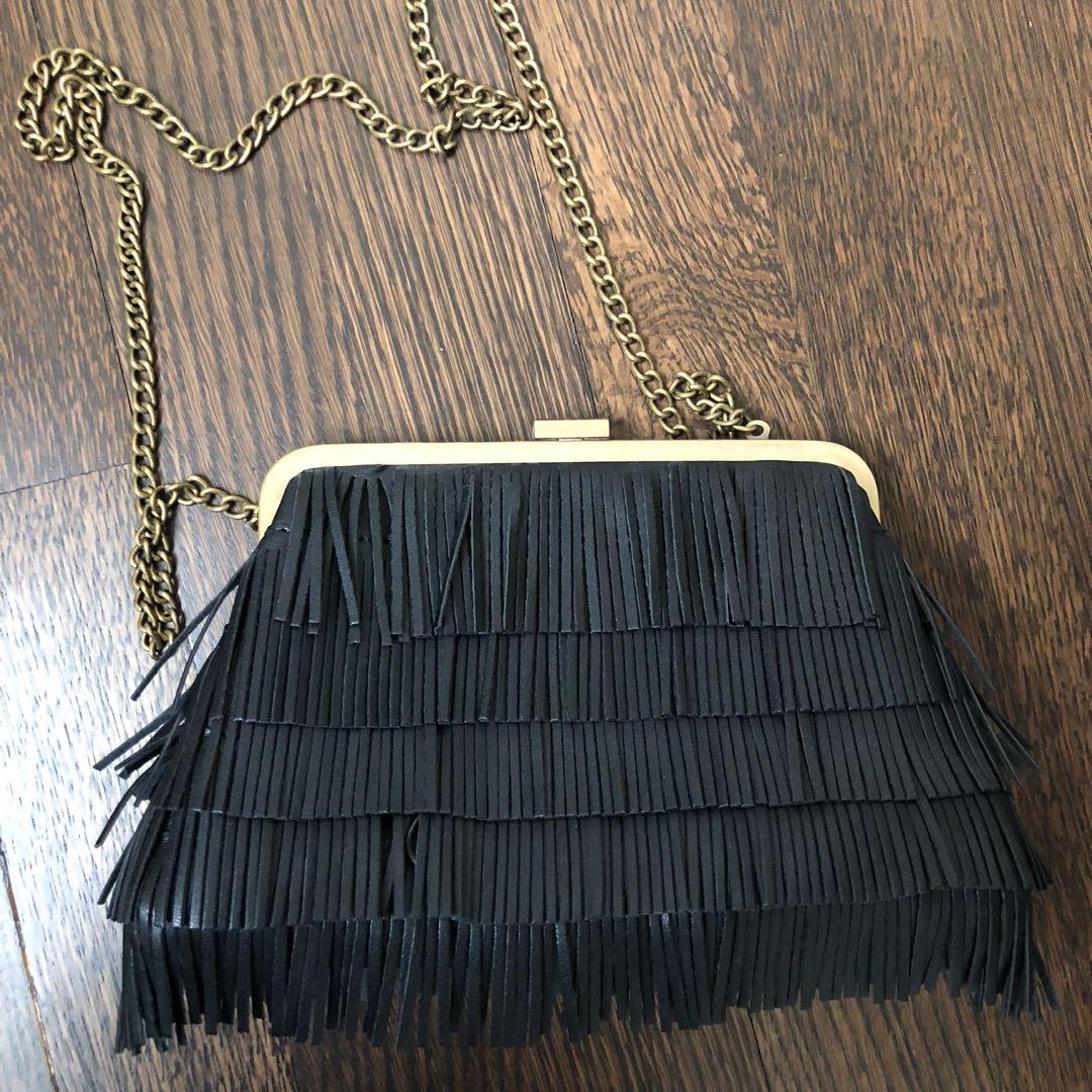 Steve Madden black fringe clutch/ cross body bag