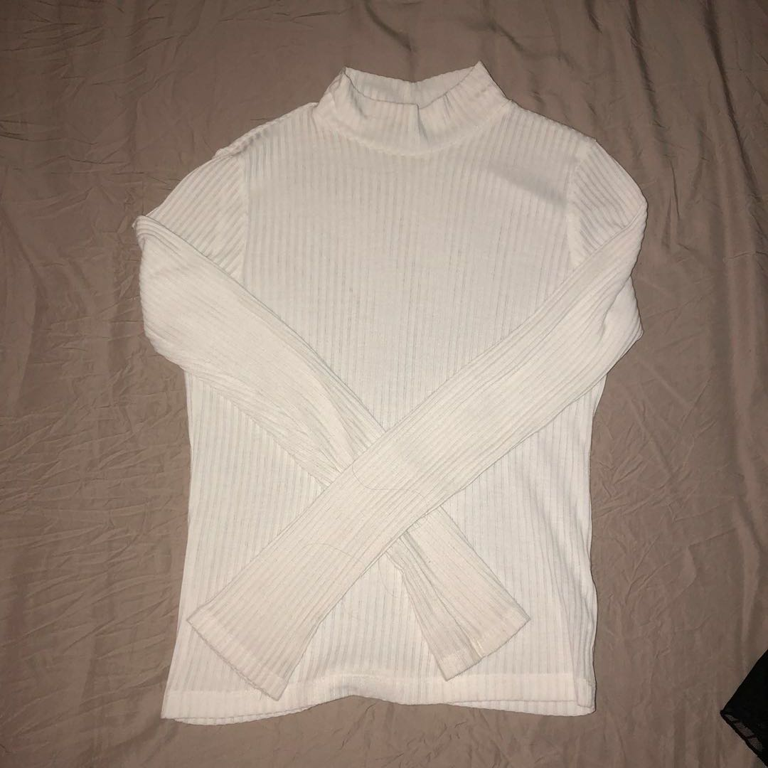 TOPSHOP White ribbed turtle neck