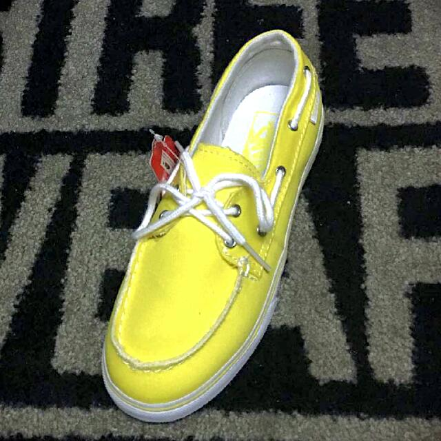 Vans yellow canvas boat shoes 672288860