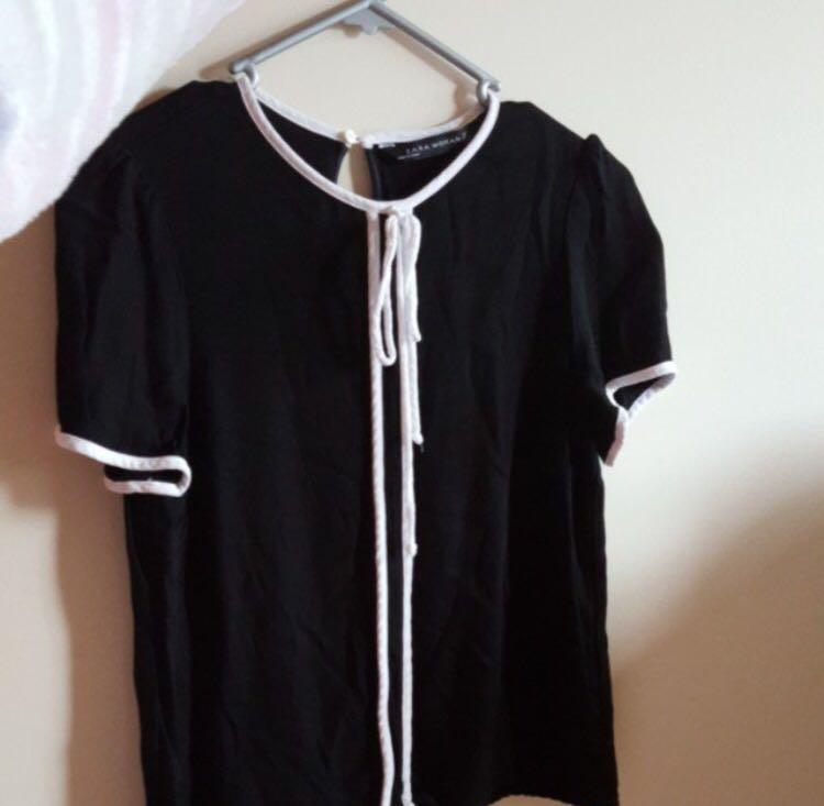 Zara Black Silk Tie Blouse - XS