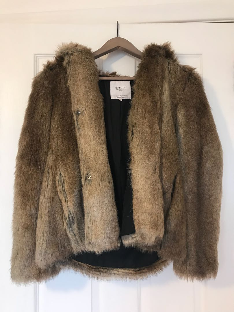 Zara Fur Jacket Size Small