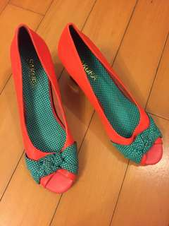 Orange/green polka dot high heels