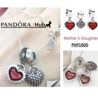Mother and Daughter Dangle Charm Necklace