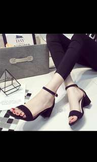 Women's korean style strap sandles with thick heels