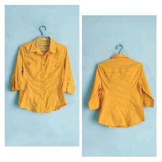 [jill] kemeja wanita bahan stretch warna kuning murah