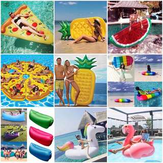 Inflatable floaters and Banana Air Bed