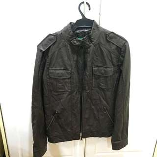 United Colors of Benetton Dark Brown Leather Jacket for Men