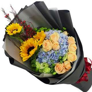 Fresh Flower Bouquet Anniversary Birthday Flower Gifts Graduation Roses Sunfowers Baby Breath -  89077     87