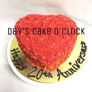 HEART CHOCOLATE CAKE WITH BUTTERCREAM ROSETTE ICING