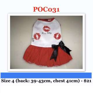 Red Kiss Dress Size 4 Brand New For Dog / Rabbit / Small Animal