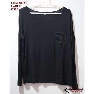 Forever 21 Black Sequined Pocket Longsleeves Top