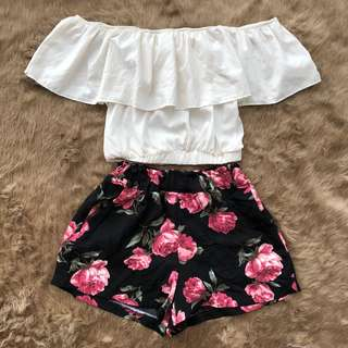 floral shorts and white off top