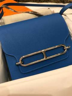 *100% BRAND NEW* Hermes Roulis 19 bleu hydra evercolor PHW stamp A