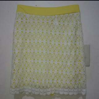 Yellow and White Lace Skirt