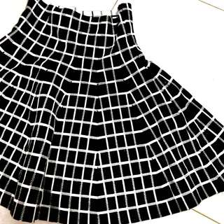 Grid Flare Skirt (Double-Sided)