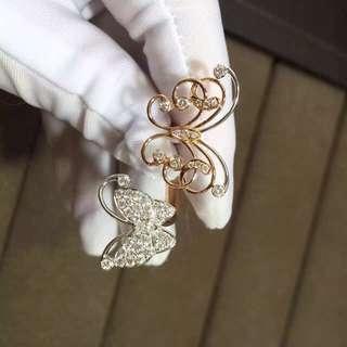 Van Cleef & Arpels 全鑽雙蝴蝶戒指