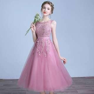 Pink floral lace bridesmaids dress