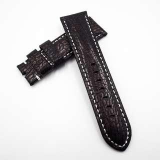 (2456) 全新 24mm 光面暗金色蜥蝪皮通用錶帶配精鋼針扣 合適 Panerai, Seiko, Bell & Ross, Tudor 等等