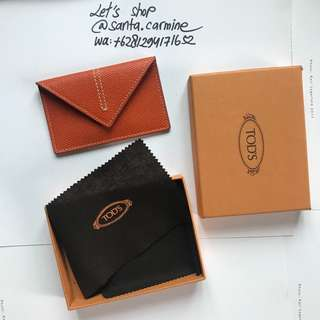tod's leather name card holder wallet limited edition