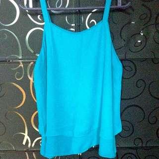 👚 Blue Spaghetti Chiffon Shirt