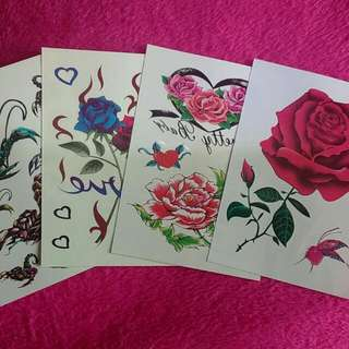💋 4 Pcs Temporary Tattoo Rose and Scorpion Design