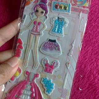 👰 Purple Hair Girl Dress Up Paper Doll Sticker