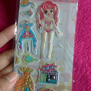 👰 Red Hair Girl Dress Up Paper Doll Sticker