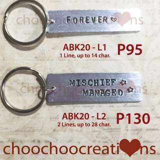 Personalized Hand Stamped Bar Keychain G20