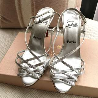 """Christian Louboutin  """"Cage"""" leather heel sandals shoes  ^^^Size 37-1/2  __"""