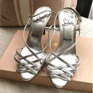 Christian Louboutin   leather heel sandals shoes   ^^Size 37-1/2^^