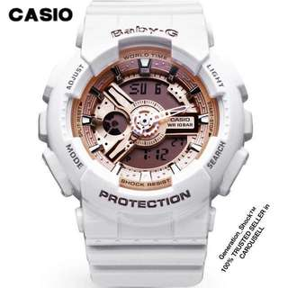 BEST🌟SELLING CASIO BABYG DIVER WATCH: 1-YEAR OFFICIAL VALID WARRANTY : 100% ORIGINALLY AUTHENTIC BABY-G Shock Resistant in WHITE GLOSSY ROSE🌹GOLD Snow White combination With Cinderella series Best Gift For Most Rough Users BA-110-7A1DR / BA110