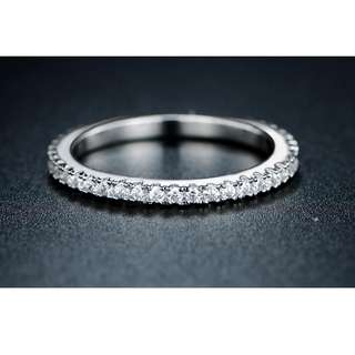 18K White Gold Plated Eternity Ring (size 7.75)